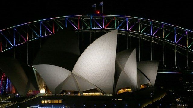 Sydney Harbour Bridge illuminated for Orlando shooting victims