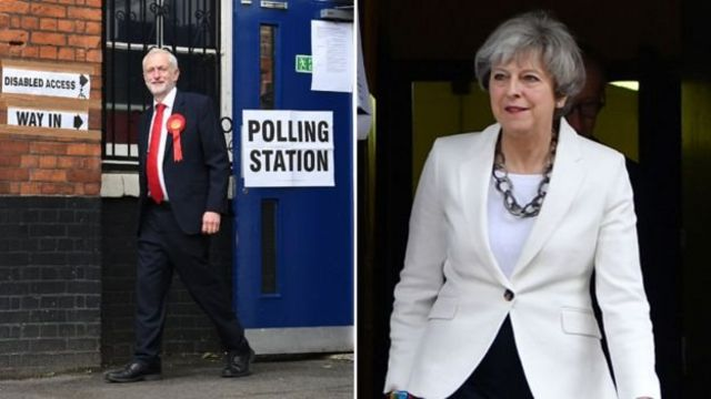 Лидеры двух ведущих британских партий Джереми Корбин и Тереза Мэй