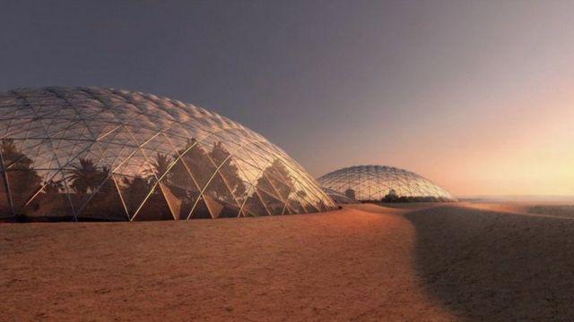Эскиз того, как будут выглядеть купольные лаборатории в пустыне