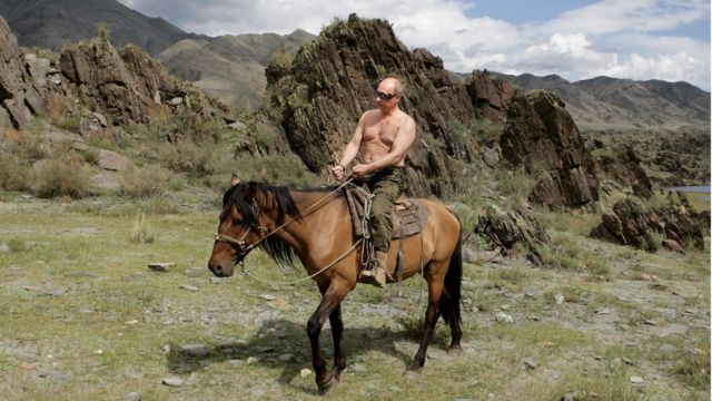 Vladimir Putin rides a horse during his holiday in Southern Siberia in August 2009