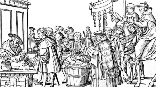 Fieles pagando por indulgencias, en un grabado de época