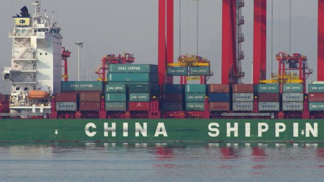 A cargo ship at a port in Rizhao, east China's Shandong province.