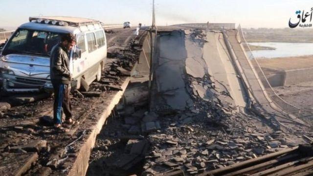 दजला नदी पर टूटा हुआ पुल