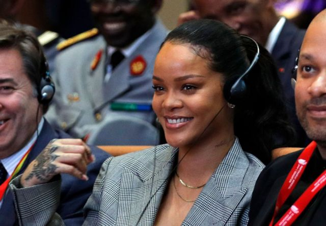 Barbadian singer Rihanna attends the conference 'GPE Financing Conference, an Investment in the Future' organised by the Global Partnership for Education in Dakar on February 2, 2018. The French and Senegalese presidents are co-hosting a conference organised by the Global Partnership for Education, aimed at pressuring donors to finance the education of a quarter of a billion children worldwide who are currently out of school, while Rihanna is attending as a global ambassador for the organisation.
