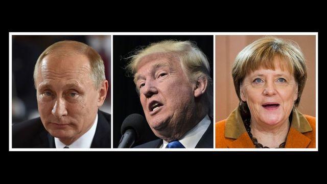 Putin (G), Trump (C) et Merkel (D)