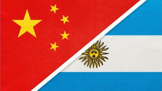 Banderas de China y Argentina