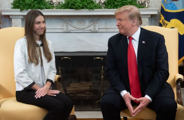 Fabiana Rosales y Donald Trump