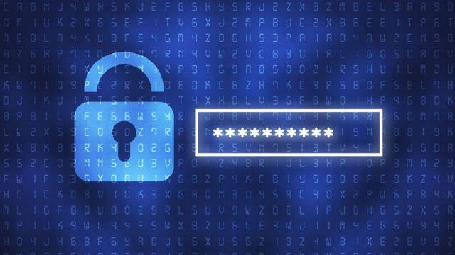 Imagen de una pantalla de computadora con un candado y una contraseña.