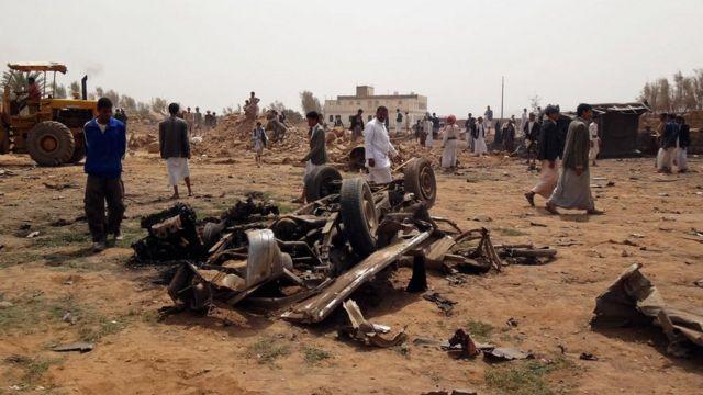 Последствия удара саудовской авиации по Йемену