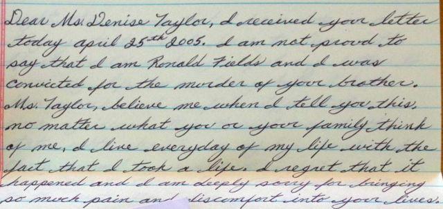 Carta de Ronnie Fields a Denise