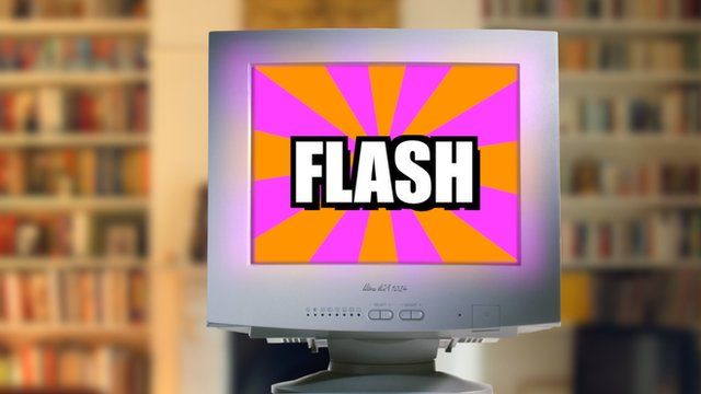 Computer showing a Flash video