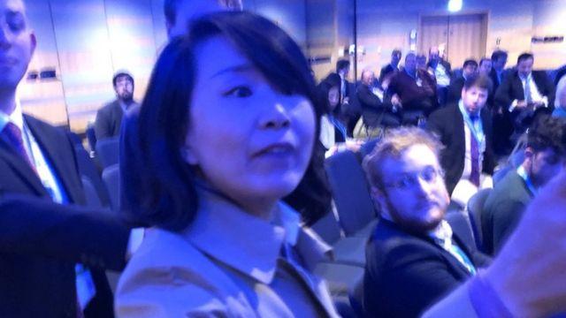 中国央视记者孔琳琳在伯明翰保守党大会香港研讨会会场(香港自由新闻提供照片30/9/2018)