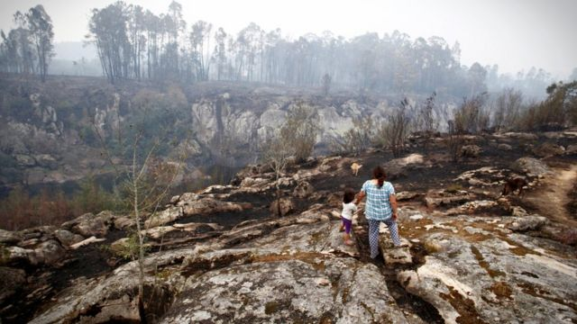 A burned forest landscape is inspected by a mother and child from a ridge in As Neves, Galicia