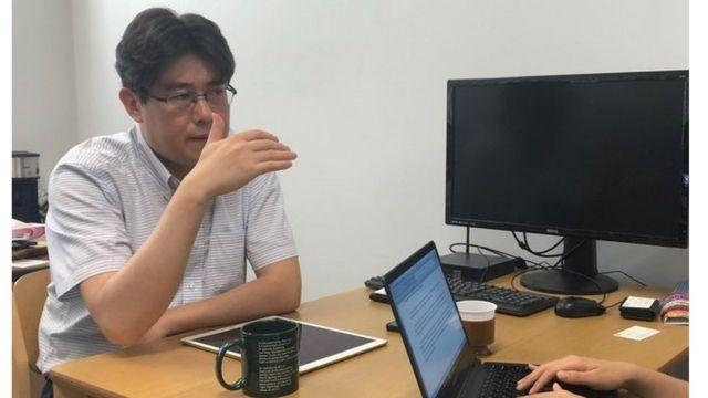BBC코리아와 인터뷰를 하고 있는 도쿄대 경제학과 가와구치 교수