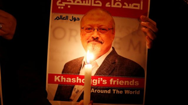 A demonstrator holds a poster with a picture of Jamal Khashoggi outside the Saudi consulate in Istanbul, Turkey October 25, 2018