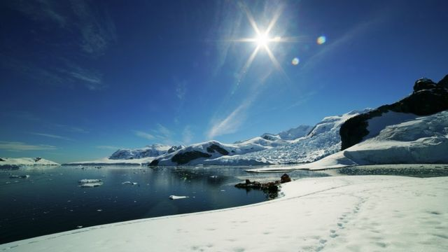 General view of Antarctica's Brown Bluff, on a sunny, yet icy, day