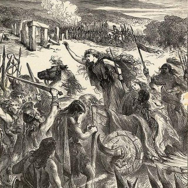 Dibujo en blanco y negro de Boudica rebelándose contra los romanos.