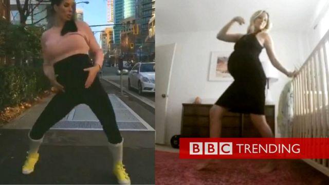 Pregnant ladies dancing