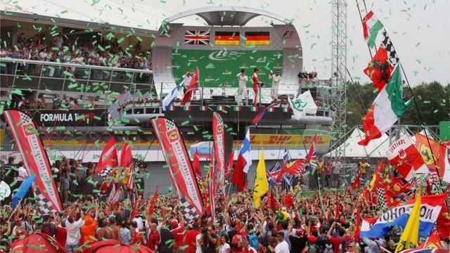 El podio del Gran Premio de Italia