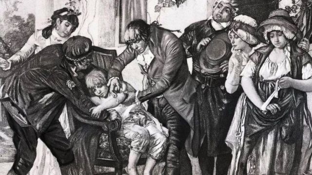 English physician Edward Jenner's first smallpox vaccination, performed on James Phipps in 1796