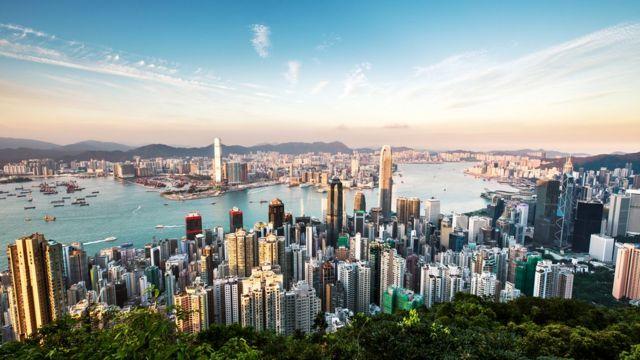 Vista de la bahía de Hong Kong