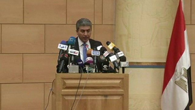 Egyptian official at podium
