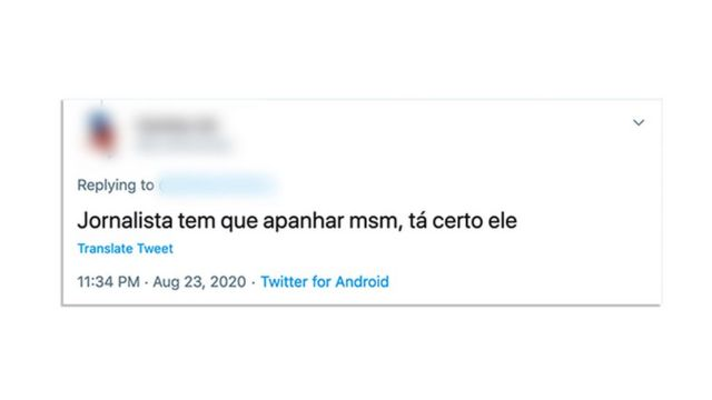 Reprodução de tuíte com ataque a jornalistas
