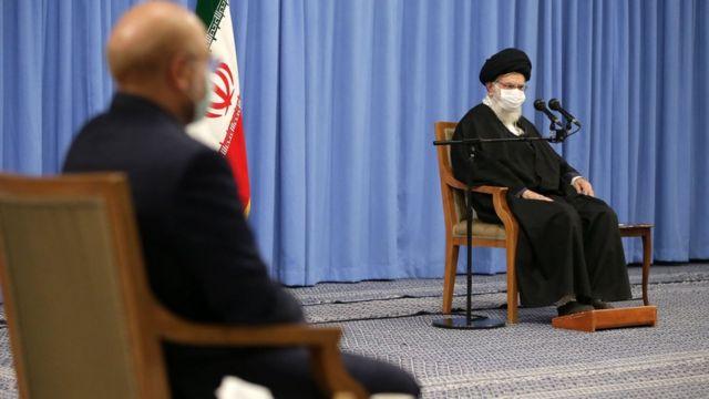 محمدباقر قالیباف، رئیس مجلس در دیدار با آقای خامنهای حاضر بود