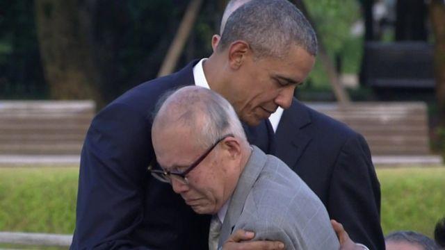 Mr Obama hugged atomic bomb survivor Shigeaki Mori
