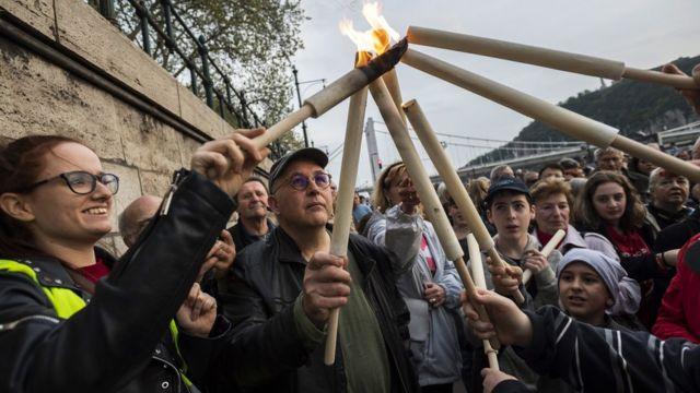 Marcha de memória do Holocausto em Budapeste, Hungria, em 14 de abril de 2019