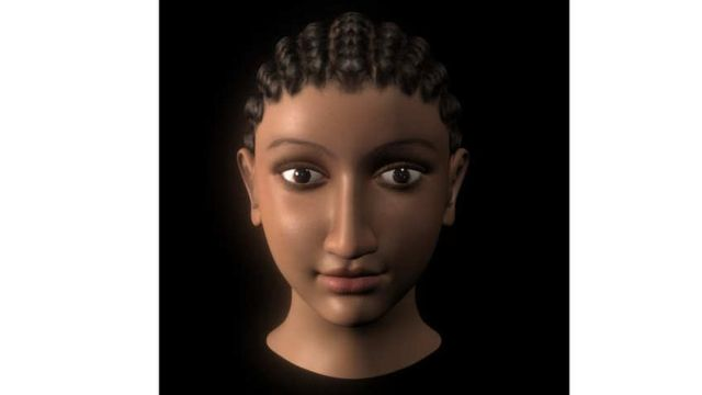 Rosto de Cleópatra, segundo reconstituição feita pela arqueóloga e egiptóloga britânica Sally Ann Ashton