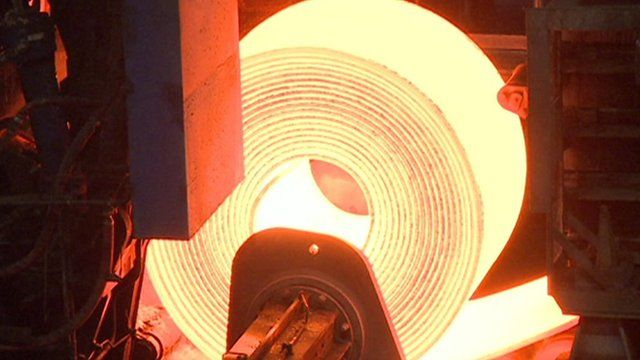 Red hot strip steel coil in factory