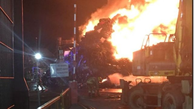 Large fire at metal recycling business in Belfast
