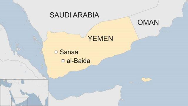 Map of Yemen, showing al-Baida