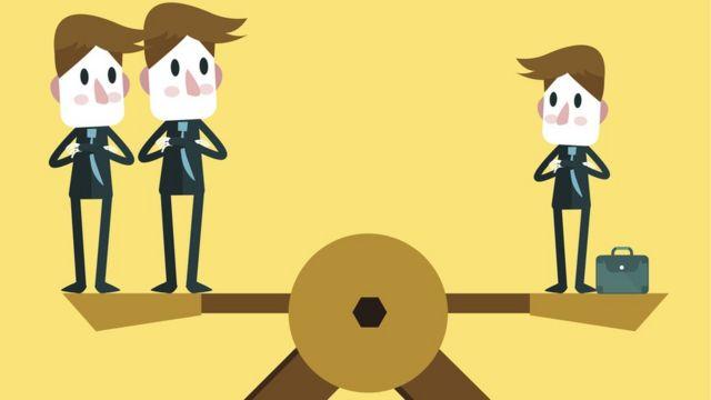 Ilustração mostra uma gangorra equilibrada com dois homens de um lado e outro do outro lado