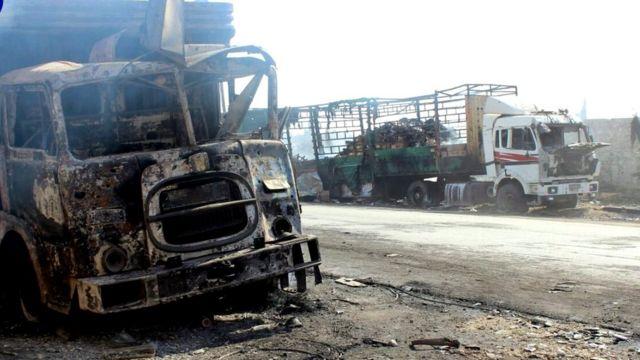シリア・アレッポ近くの倉庫に人道援助物資を納入していたトラック(20日)