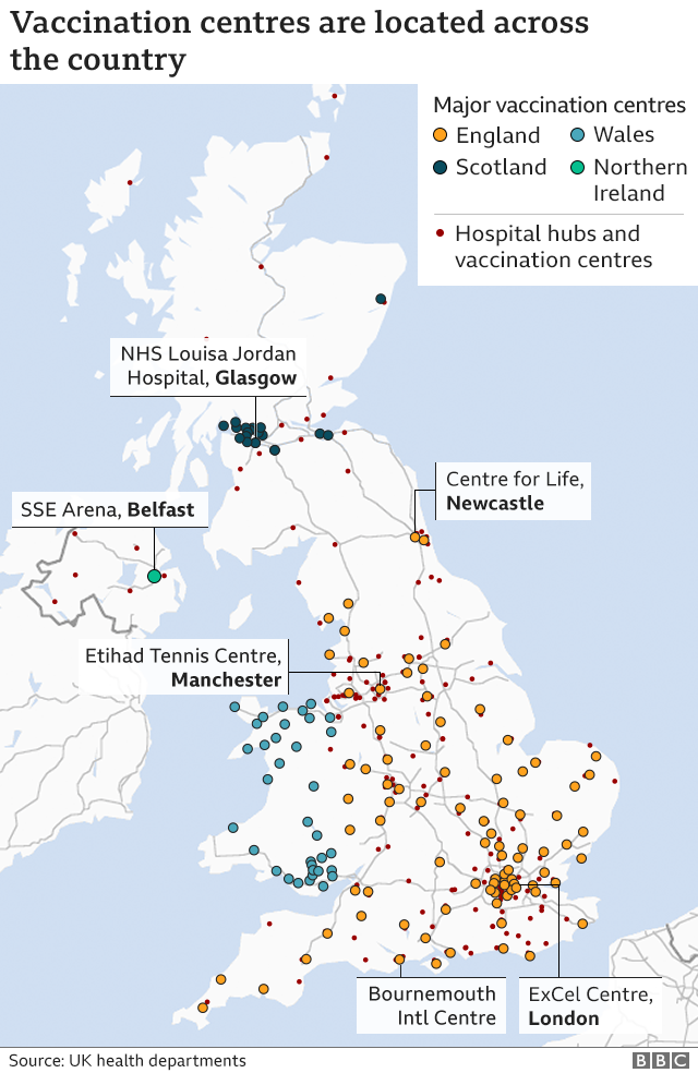 Map showing the UK's hospital hubs and mass vaccination sites