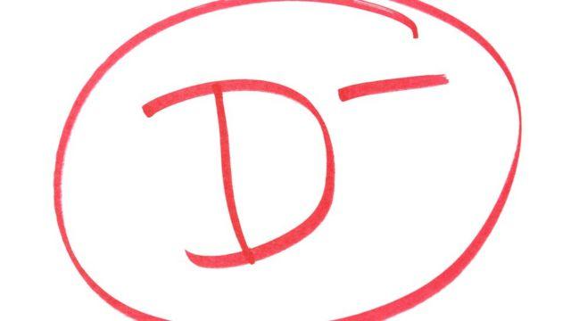 Una calificación D- redondeada con un círculo rojo.