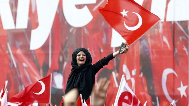 прибічники президента Туреччини на мітингу, 14 квітня