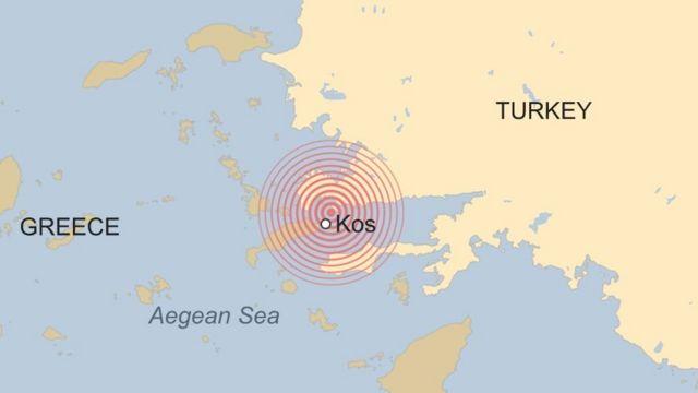 мапа землетрусу на острові Кос