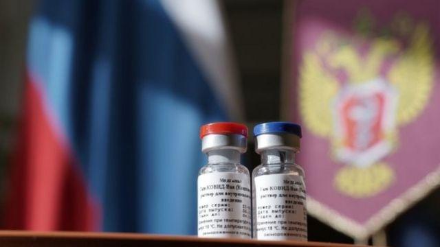 Frascos da vacina da Rússia