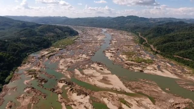 This screengrab from an aerial video taken on October 28, 2019 shows the Mekong river in Sungkom district in Nong Khai province,
