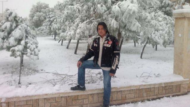 Hadi durante o inverno na Síria; ele fala português fluentemente