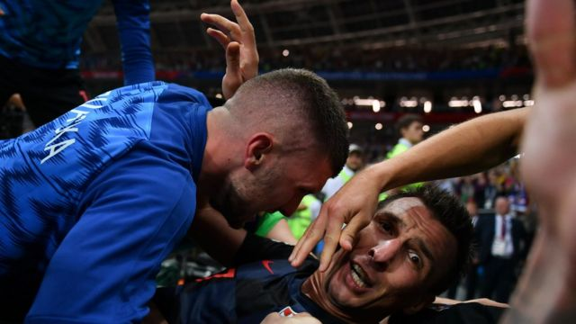 Croatian players celebrating their victory over England