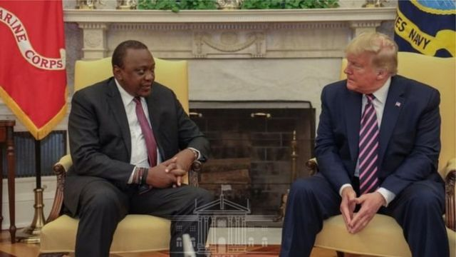 Rais Uhuru Kenyatta na mwenzake wa Marekani Donald Trump