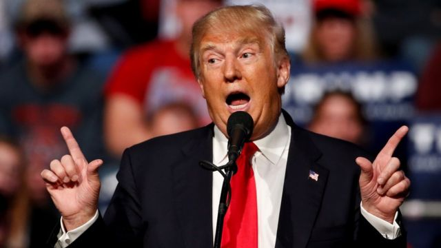 Donald Trump, igihe yavugiraga ahitwa Fort Wayne muri Indiana ku ya 1/05/2016