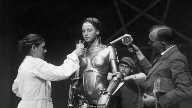 Fritz Lang's Metropolis may have introduced onscreen the idea of the 'sexy robot' who seduces men - and enjoys a drink when the cameras aren't rolling