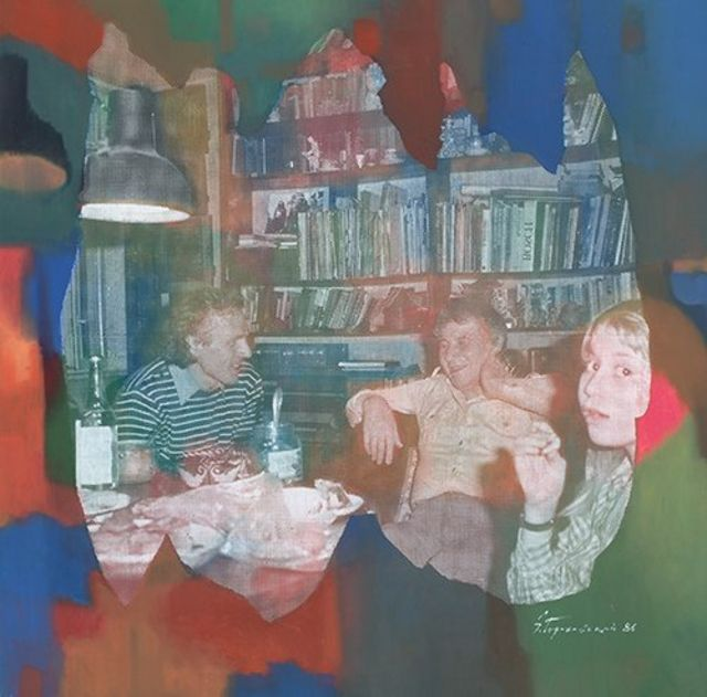 """А вот еще одна работа Эдуарда Гороховского: """"Ужин"""". Слева направо: Владимир Тарасов, Илья Кабаков, Женя Чуйкова. 1986"""