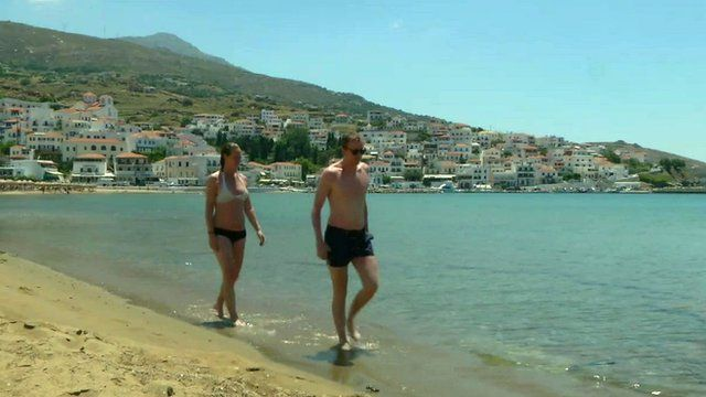 Couple walking on Andros