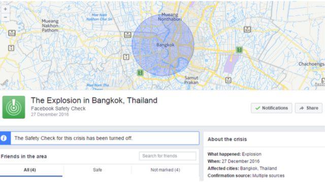 """تلقى مستخدمو فيسبوك في بانغكوك إنذار خاطئ عن """"انفجار"""" في العاصمة التايلاندية، بعد أن شغلت شبكة التواصل الاجتماعي خاصية التحقق من السلامة"""